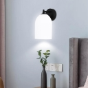 1 Light Elongated Dome Wall Sconce Modern Simple Opal Glass Wall Lamp in Black/Gold