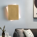 Simple Rectangle Wall Mounted Lamp with Gold/White Metal Shade Led Wall Light Fixture in Warm/White