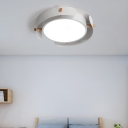 Nordic Style Acrylic Ceiling Light Unique Round Ceiling Fixture with Wood in White/Weathered White