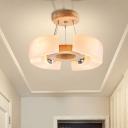 4/6 Light Wooden Ceiling Light Fixture Modern Unique Round Flush Mount Light, Warm/White
