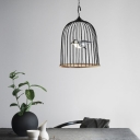 Black Birdcage Pendant Lighting 1 Light Rustic Metal Led Hanging Lamp in White Light with Black/Pink Bird