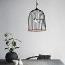 Black Birdcage Pendant Lighting 1 Light Rustic Metal Led Hanging Lamp in White Light with Black/Pink Bird