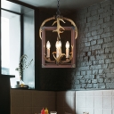 Lantern Pendant Lighting with Candle and Antler Loft Style 4/8 Bulbs Metal Hanging Ceiling Lamp