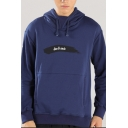 Men's Popular Fashion Letter Embroidered Long Sleeve Drak Blue Casual Sports Hoodie