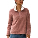 Women's Fashion Pink Warm Fluffy Stand Up Collar Half-Zip Plain Sweatshirt