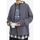 Mens Trendy Graphic Printed Plaid Patched Fake Two-Piece Long Sleeve Casual Loose Fit Hoodie