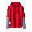 Simple Fashion Label Patched Colorblocked Long Sleeve Unisex Fake Two-Piece Pullover Hoodie