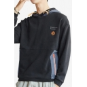 Mens Fashion Letter Printed Zip Pocket Embroidery Detail Long Sleeve Drawstring Hoodie