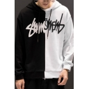 Mens Popular Colorblock Letter Scratch Printed Long Sleeve Drawstring Pullover Hoodie