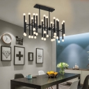 42 Lights Tube Hanging Pendant Light Modern Metal Island Chandelier in Black/Chrome/Gold