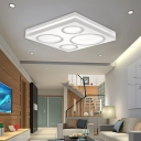 Modern Square LED Ceiling Mount Light with Circular Pattern Acrylic White Finish Ceiling Fixture for Living Room Bedroom