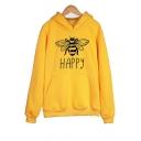 Winter Simple HAPPY Bee Pattern Long Sleeve Plain Thick Hoodie with Pocket