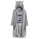 Cute Fish Pattern Print Longline Cat Ear Blouse Hoodie with Pocket