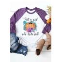 Girls Fashion JUST A GIRL WHO LOVES FALL Pumpkin Pattern Raglan Long Sleeve Loose Tee