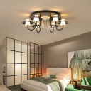 Metallic Circular Semi Flushmount Light 8 Lights Luxurious Black/White Ceiling Light with Crystal Ball for Dining Table