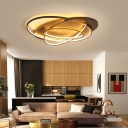 Oval Shape LED Flushmount Light Modern Stylish Acrylic Ceiling Lamp in Brown for Office Coffee Shop