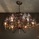 Wrought Iron Exposed Bulb Hanging Lighting Industrial 9 Lights Chandelier Lamp in Rustic Copper