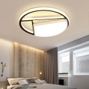 Black and White Round Flush Mount Lighting Modern Metal Integrated LED Close to Ceiling Light for Bedroom, 16