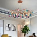 65/85 Bulbs Ring Pendant Light Modern Agate Stone Chandelier in Rose Gold for Living Room