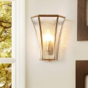 Single Light Bell Wall Mounted Lamp Clear Dimple Glass Traditional Wall Lighting in Gold