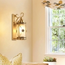 Frosted Glass Cylinder Wall Lighting Vintage Style Single Light Sconce Lamp in Gold