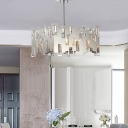 Chrome Square Chandelier Lighting 6 Lights Contemporary Metal Pendant Lamp with Clear Faceted Crystal