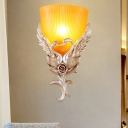 Country Style Cone Wall Mount Lighting 1 Light Amber/White Ribbed Glass Bedroom Sconce Light in Silver/Gold