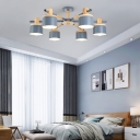 6/8 Heads Sputnik Semi Mount Lighting Contemporary Metal Semi-Flush Ceiling Light in Grey for Bedroom