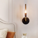 1 Light Cylindrical Sconce Light Fixture with Clear Glass Lampshade Colonial Wall Lighting in Gold