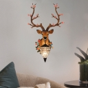 Rustic Teardrop Wall Lighting with Resin Deer Head 1 Light Wall Mount Light in Black