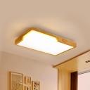 Rectangle Ceiling Mounted Light Modernist Acrylic LED Wooden Ceiling Lighting for Living Room