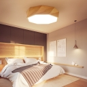 Wood Polygon Ceiling Mounted Light Minimalism LED Flush Ceiling Light Fixture for Bedroom