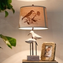 Beige Drum Table Lighting with Bird Pattern/No Pattern Loft Rustic Fabric Shade 1 Light Standing Lamp for Bedside
