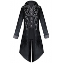 Steampunk Style Retro Floral Print Long Sleeve Swallowtail Medieval Blazer Coat