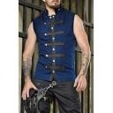 Military Stylish Button Front Sleeveless Slim Fit Tank Waistcoat