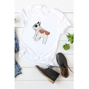 Funny Dog Printed Short Sleeve Round Neck Casual T-Shirt