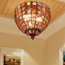 Bohemia Style Bowl Flush Mount Lighting Crystal Bead 3 Lights Ceiling Flush Light in Antique Copper
