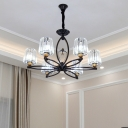 3/6 Lights Cone Chandelier Modern Clear Crystal Pendant Light in Brass Finish for Living Room