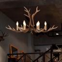 6/8 Lights khaki Antlers Ceiling Pendant Light Contemporary Resin Suspension Light for Indoor