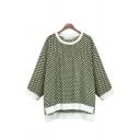 Fashion 3/4 Sleeve Polka Dot Printed Contrast Trim Side Split High Low Hem T-Shirt Top