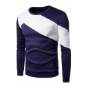 Mens Casual Colorblocked Panel Round Neck Long Sleeve Pullover Sweatshirt