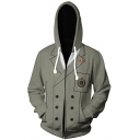 Persona Cosplay Costume 3D Blazer Printed Long Sleeve Zip Up Grey Hoodie