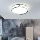 Bracelet Flush Light Black and White Modern Led Ceiling Flush Mount Light with Diffuser