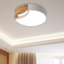 Hollow Round Ceiling Light Fixture Modern Wood and Iron Unique Flush Mount Ceiling Light in White/Grey/Green