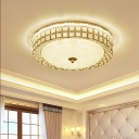 Led Circular Ceiling Flush Mount Modern Clear Crystal and Frosted Glass Flushmount Lighting in Gold