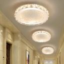 Polished Chrome Round Flush Ceiling Light Clear Crystal Mini Flush Mount Light in Warm/White