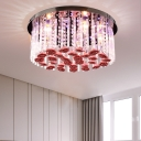 Girls Bedroom Round Ceiling Mount Light Clear ad Red Crystal Modern LED Ceiling Lamp