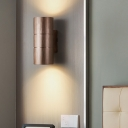 Cylinder Wall Sconce Light Modern Industrial 2 Lights Black/Coffee/Gold/Grey Indoor Lighting for Bedroom