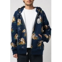Trendy Tiger All-Over Printed Long Sleeve Mens Casual Zip Up Hoodie