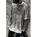 Street Style Cool Distressed Letter PSYCHE Printed Long Sleeve Round Neck Fake Two-Piece Unisex Grey Sweatshirt